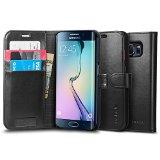 Galaxy S6 Edge ケース, Spigen® 【 スタンド機能 】 ウォレット S レザー ケース (国内正規品) (2015) (ブラック 【SGP11433】)