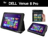 Dell Venue 8 Pro レザーケース (Dell Venue 8 Pro, ブラック) & 液晶保護フィルム(光沢タイプ)