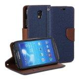 GMYLE(R) ブルー & ブラウンPUレザー財布型手帳型横開きスタンドケースカバーー Samsung Galaxy S4 Active i9295専用