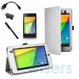 【wisersオリジナル】 5点セット 2013 Google New Nexus 7 FHD 2nd 2 専用ケース カバー スタンド機能付き Nexus7 2 7インチ Android 4.3 タブレット アンチグレア液晶、OTGケーブル、タッチペン、microUSBカバー 白 ホワイト