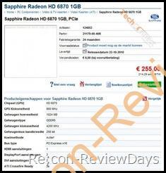 Sapphire Radeon HD 6870/6850の価格がオランダのサイトに掲載される