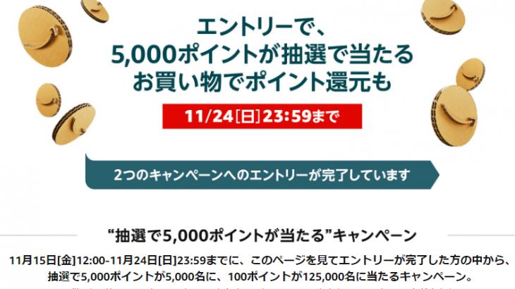 Amazon.co.jpにて11月22日(金)朝9時~11月24日(日)23時59分迄ブラックフライデーセールを実施、エントリーで最大5000Pが抽選で当たる #Amazon #アマゾン #セール #特価